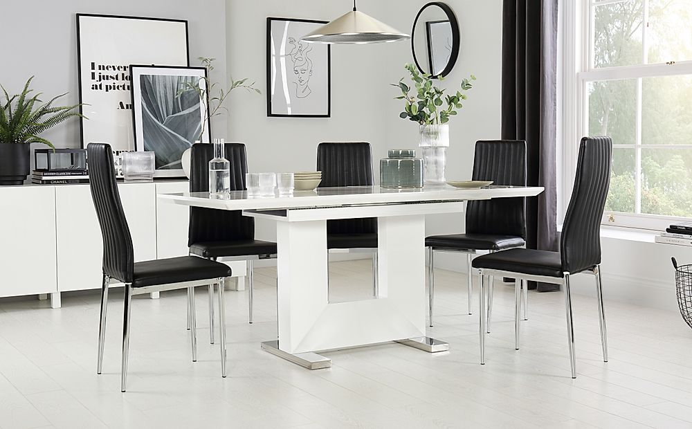 Florence White High Gloss Extending Dining Table with 4 Leon Black Leather Chairs