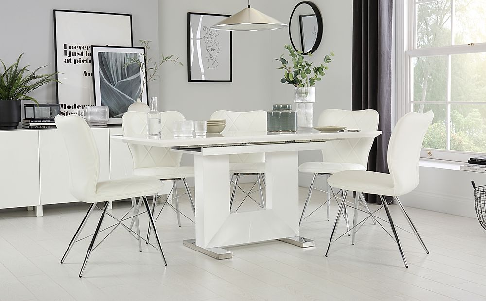 Florence White High Gloss Extending Dining Table with 4 Lucca White Chairs