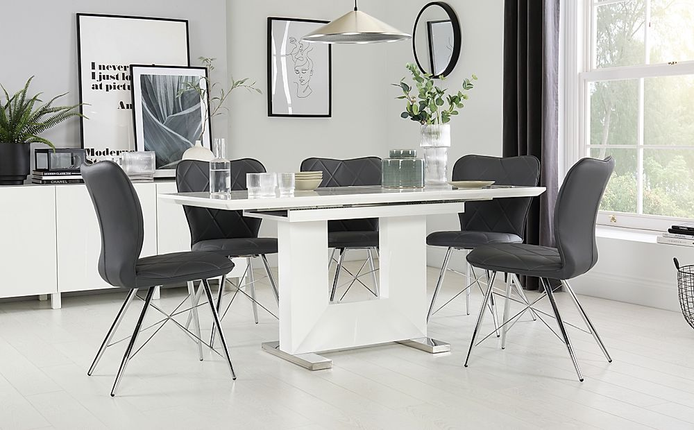 Florence White High Gloss Extending Dining Table with 6 Lucca Grey Chairs