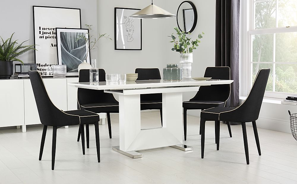 Florence White High Gloss Extending Dining Table with 6 Modena Black Fabric Chairs