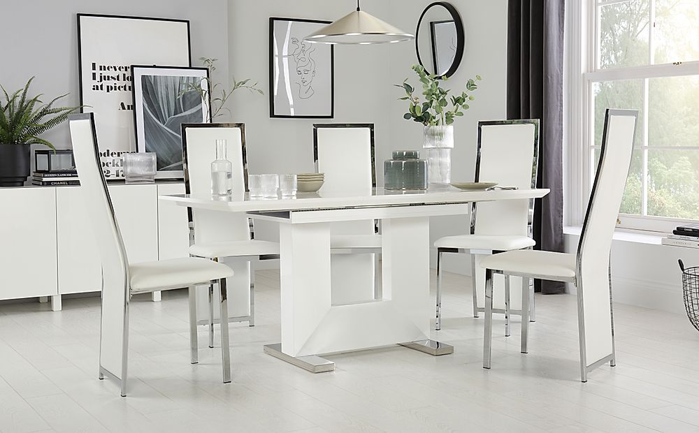 Florence White High Gloss Extending Dining Table with 6 Celeste White Chairs