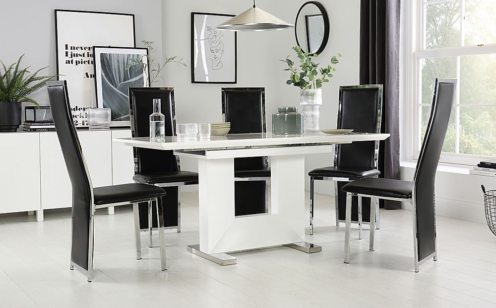 Florence White High Gloss Extending Dining Table with 4 Celeste Black Leather Chairs