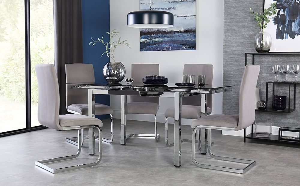 Space Chrome & Black Glass Extending Dining Table with 4 Perth Grey Velvet Chairs