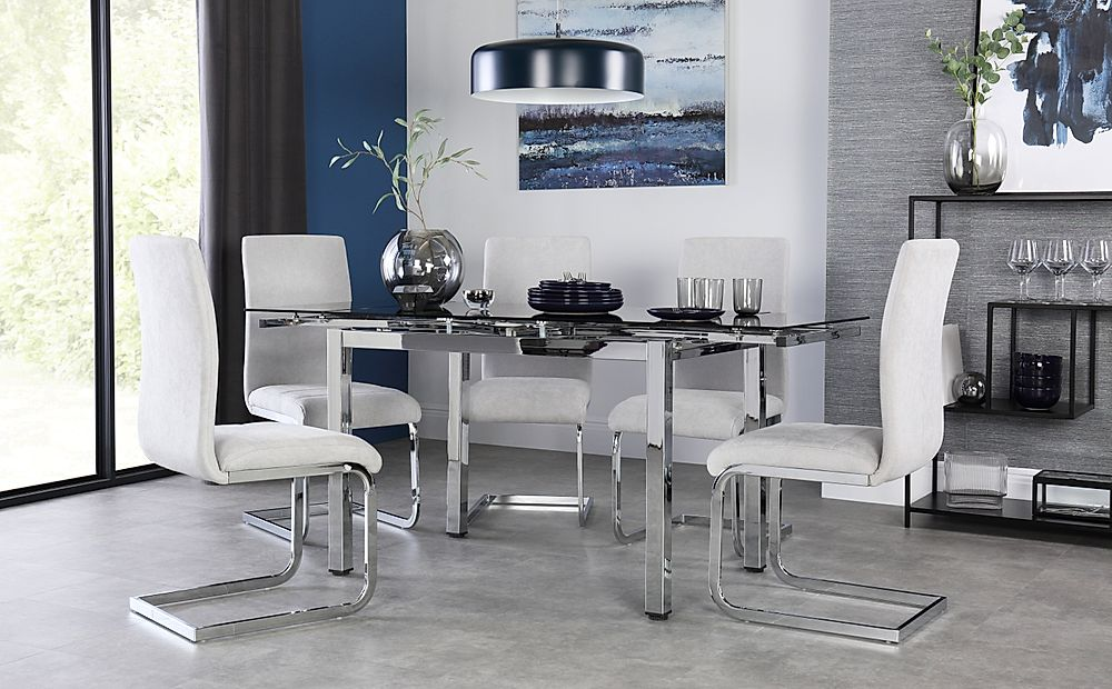 Space Chrome and Black Glass Extending Dining Table with 6 Perth Dove Grey Fabric Chairs