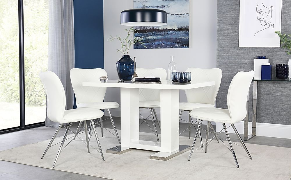 Joule White High Gloss Dining Table with 4 Lucca White Chairs