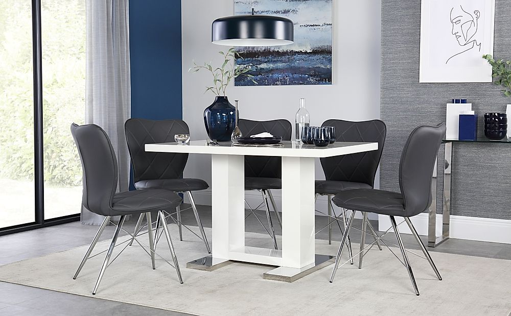 Joule White High Gloss Dining Table with 6 Lucca Grey Chairs