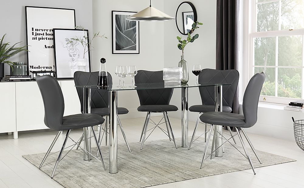 Lunar Chrome & Glass Dining Table with 6 Lucca Grey Chairs