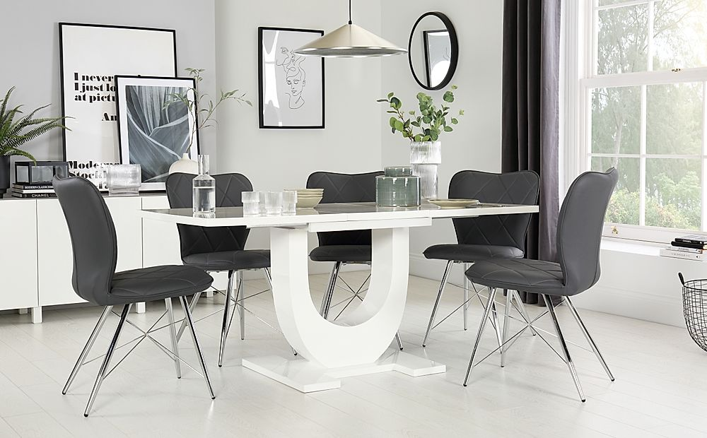 Oslo White High Gloss Extending Dining Table with 4 Lucca Grey Leather Chairs