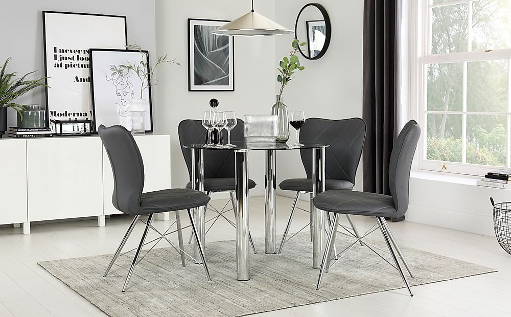 Solar Round Chrome Glass Dining Table with 4 Lucca Grey Chairs