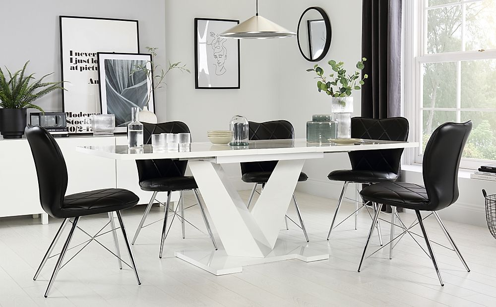 Turin White High Gloss Extending Dining Table with 4 Lucca Black Chairs