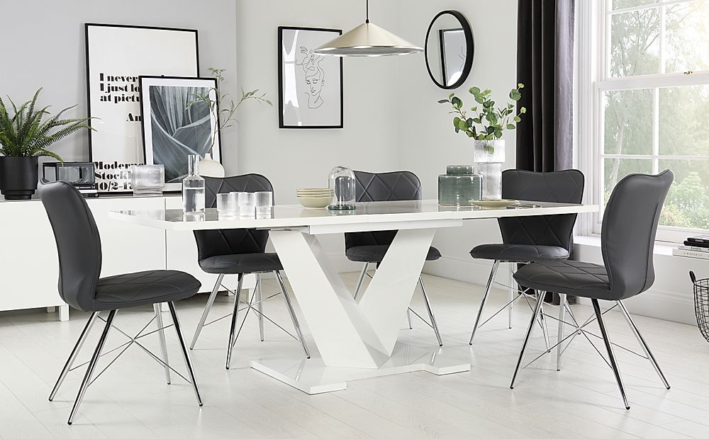 Turin White High Gloss Extending Dining Table with 6 Lucca Grey Leather Chairs