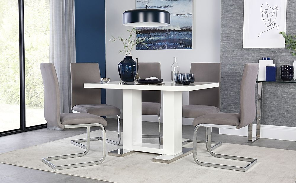 Joule White High Gloss Dining Table with 6 Perth Grey Velvet Chairs