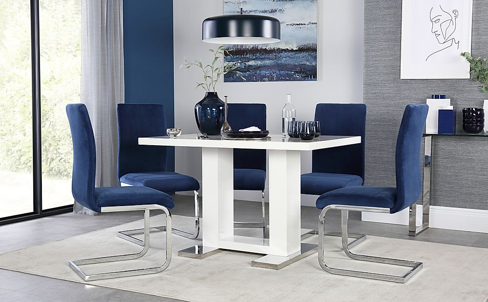 Joule White High Gloss Dining Table with 6 Perth Blue Velvet Chairs