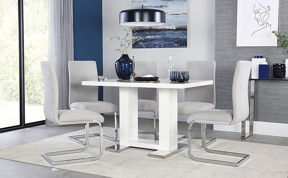 Joule White High Gloss Dining Table with 6 Perth Dove Grey Fabric Chairs