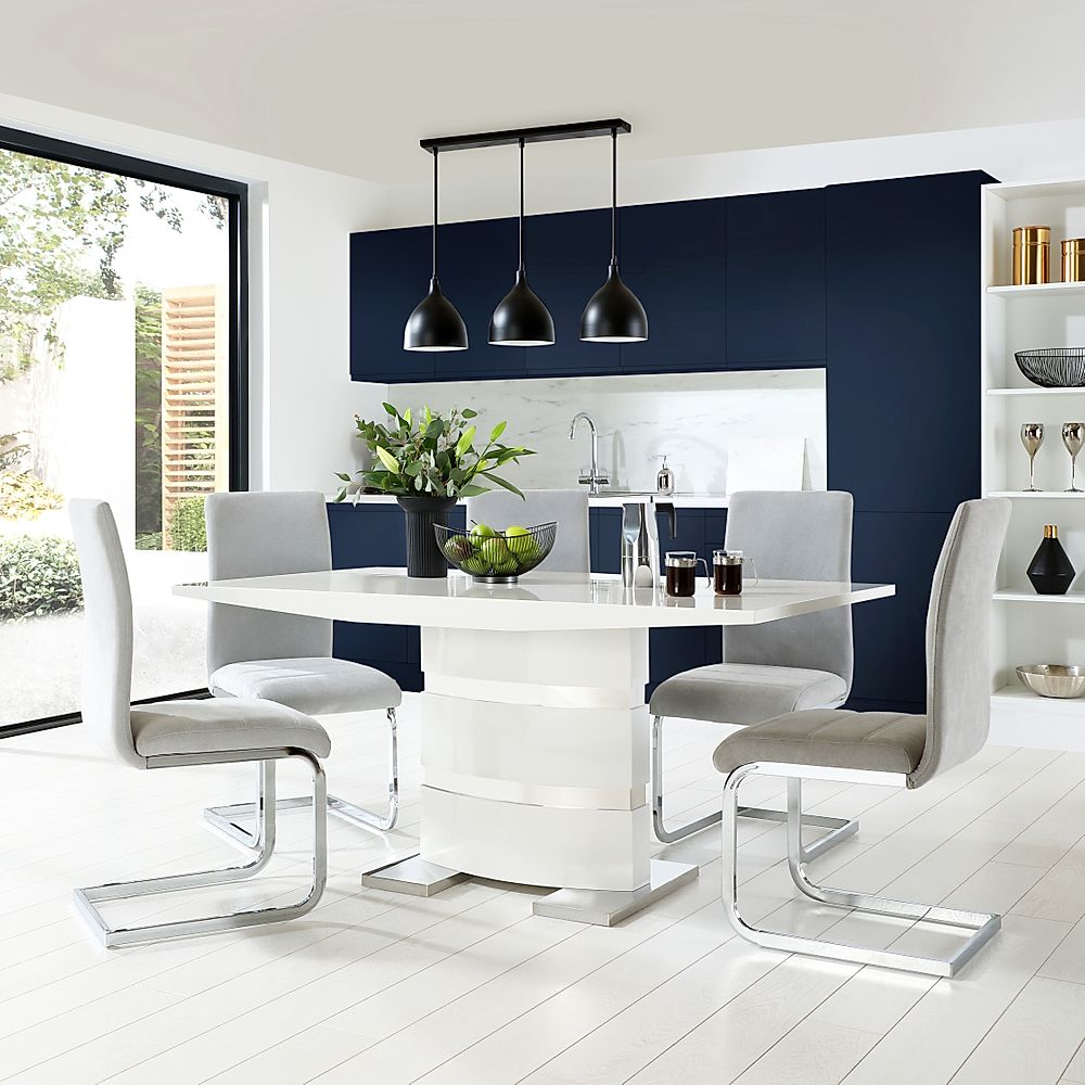 Komoro White High Gloss Dining Table with 6 Perth Dove Grey Fabric Chairs