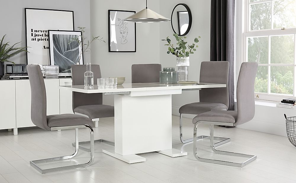 Osaka White High Gloss Extending Dining Table with 6 Perth Grey Chairs