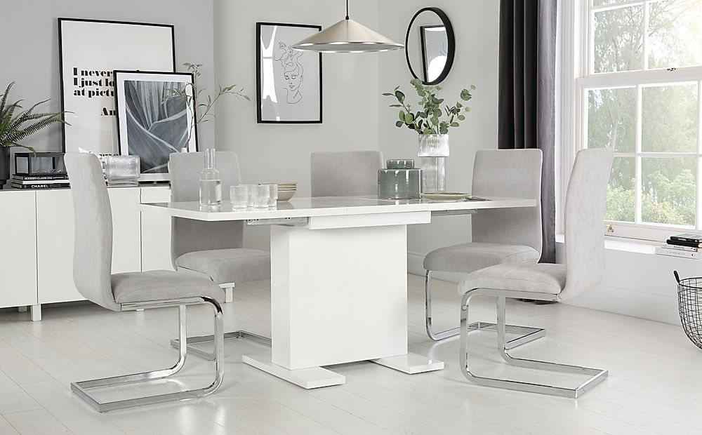 Osaka White High Gloss Extending Dining Table with 6 Perth Dove Grey Fabric Chairs