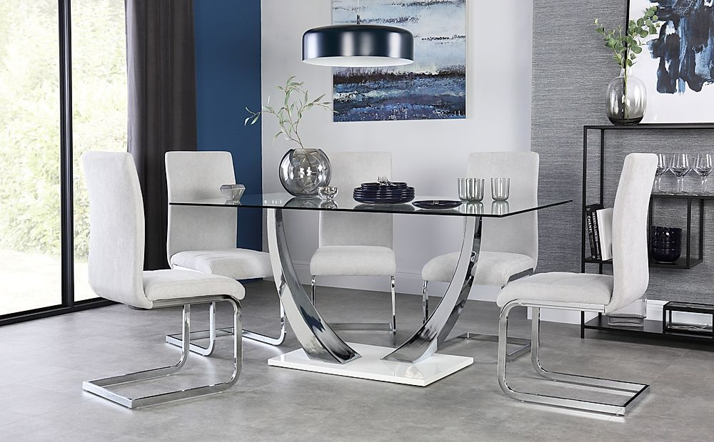 Peake Glass & Chrome Dining Table (White Gloss Base) with 4 Perth Dove Grey Fabric Chairs