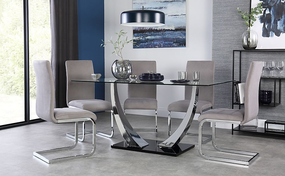 Peake Glass and Chrome Dining Table (Black Gloss Base) with 6 Perth Grey Velvet Chairs