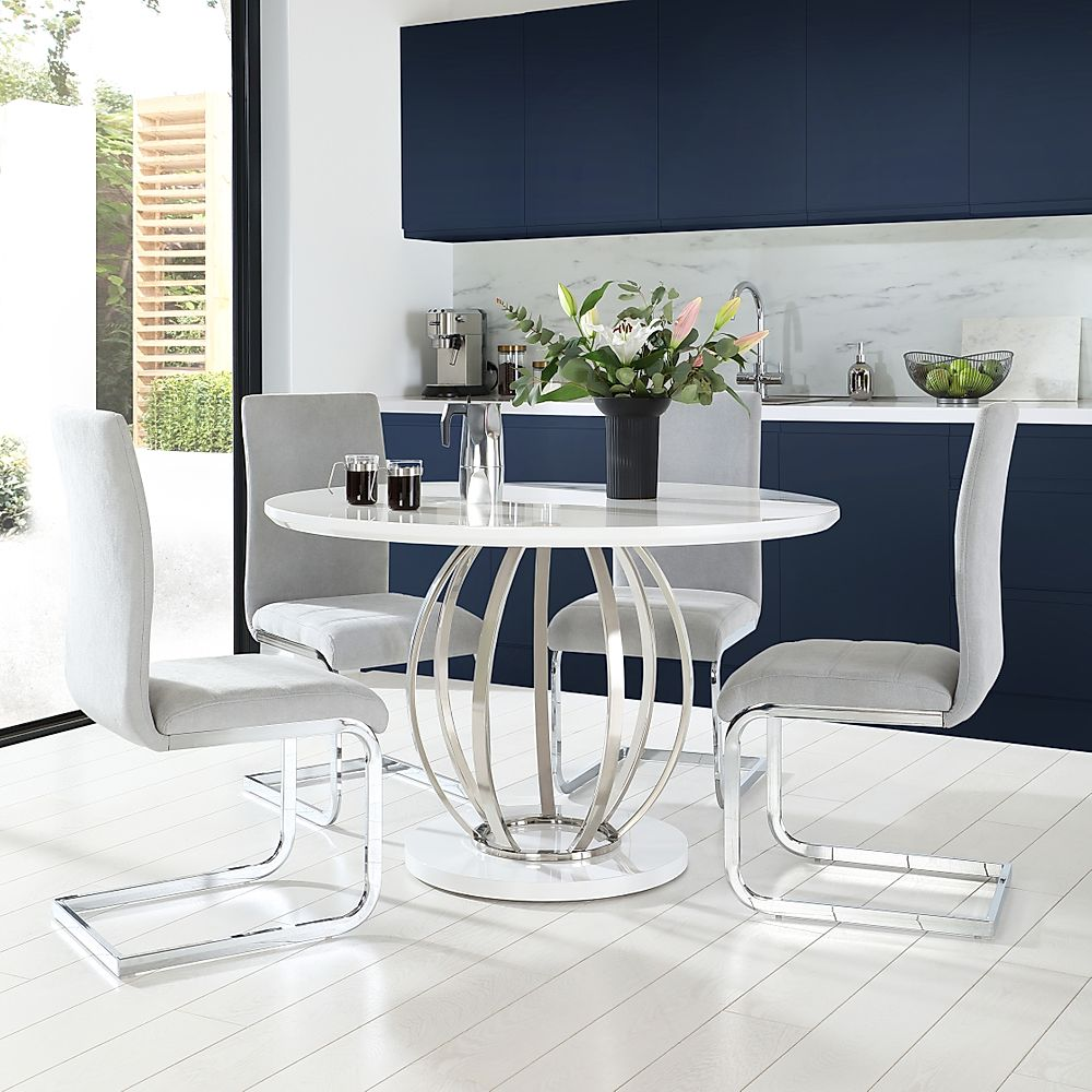 Savoy Round White High Gloss and Chrome Dining Table with 4 Perth Dove Grey Fabric Chairs