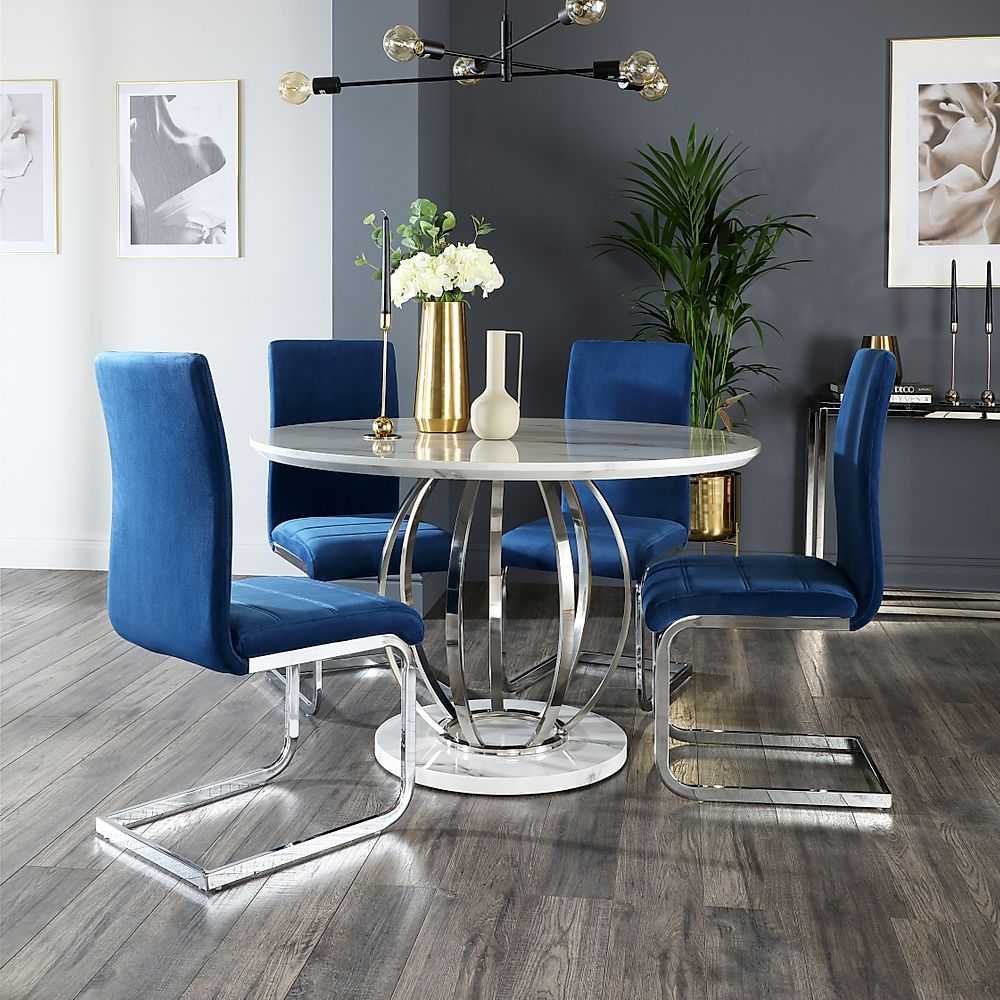 Savoy Round White Marble And Chrome Dining Table With 4 Perth Blue Velvet Chairs Furniture And Choice