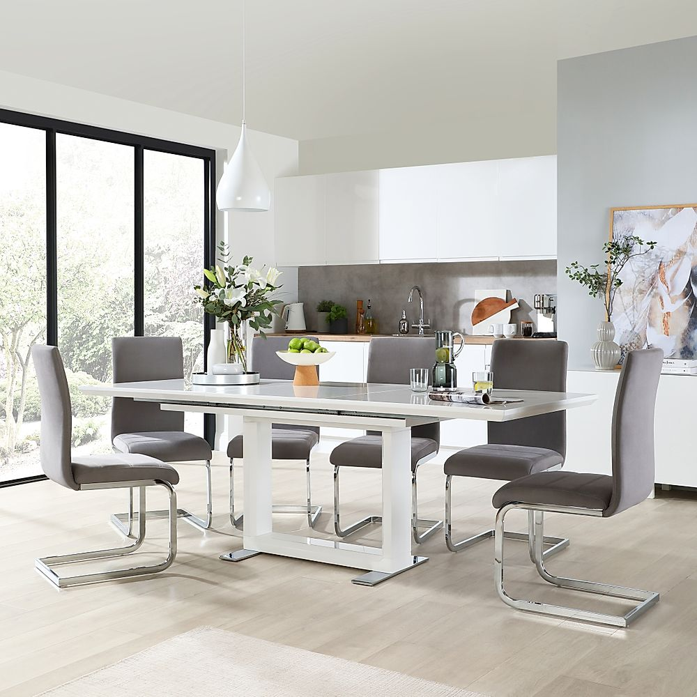 Tokyo White High Gloss Extending Dining Room Table with 6 Perth Grey Velvet Chairs