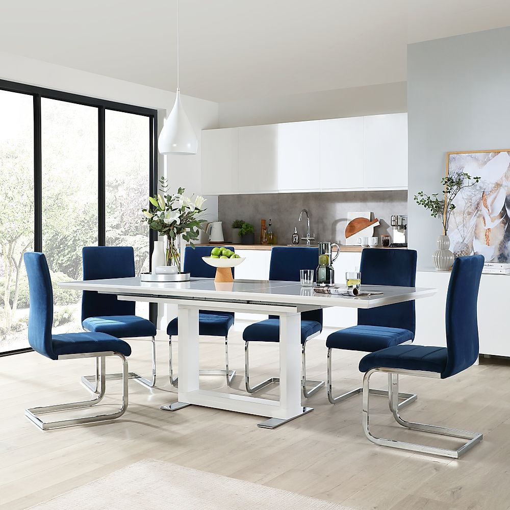 Tokyo White High Gloss Extending Dining Room Table with 6 Perth Blue Velvet Chairs