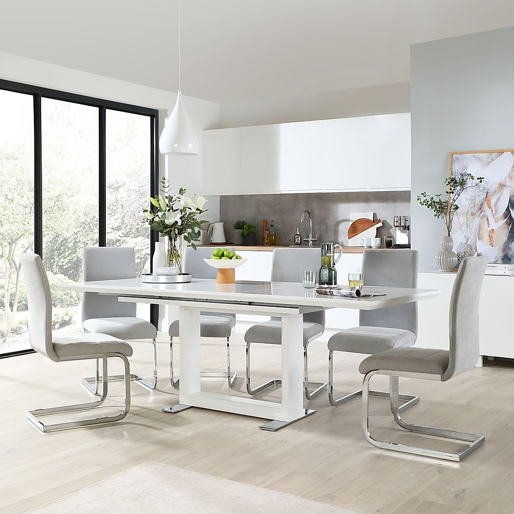 Tokyo White High Gloss Extending Dining Room Table with 6 Perth Dove Grey Fabric Chairs