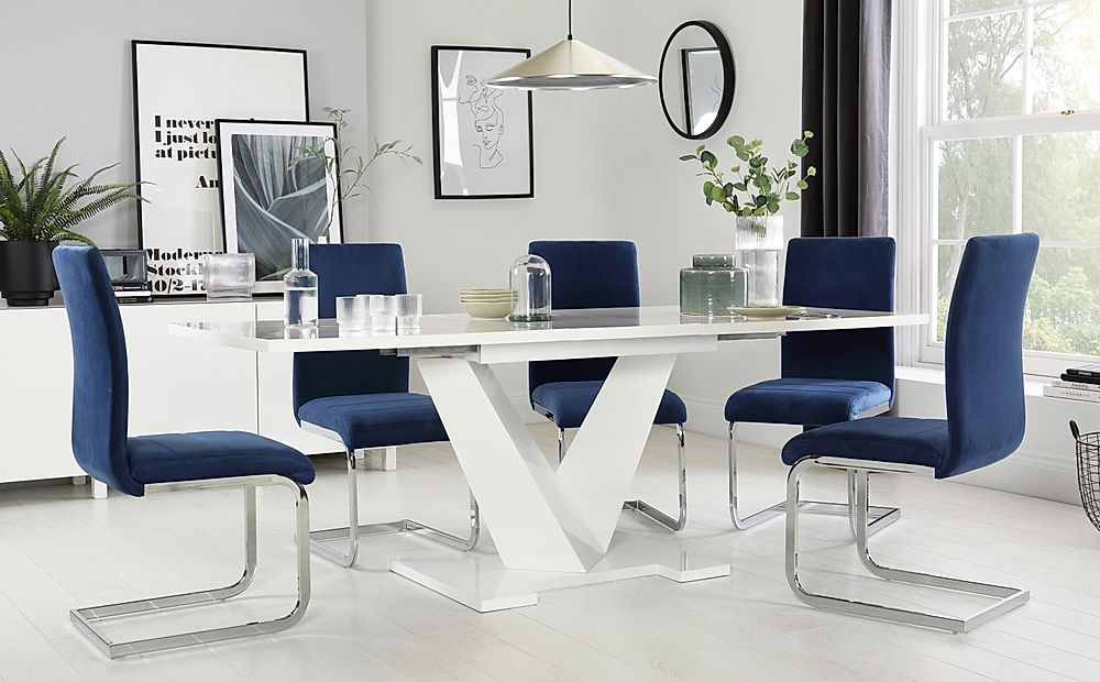 Turin White High Gloss Extending Dining Table 160-200cm with 6 Perth Blue Chairs