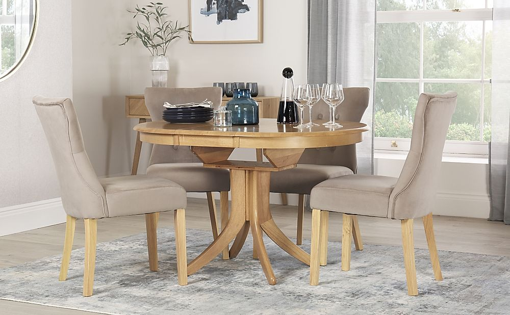 Hudson Round Oak Extending Dining Table with 4 Bewley Mink Velvet Chairs