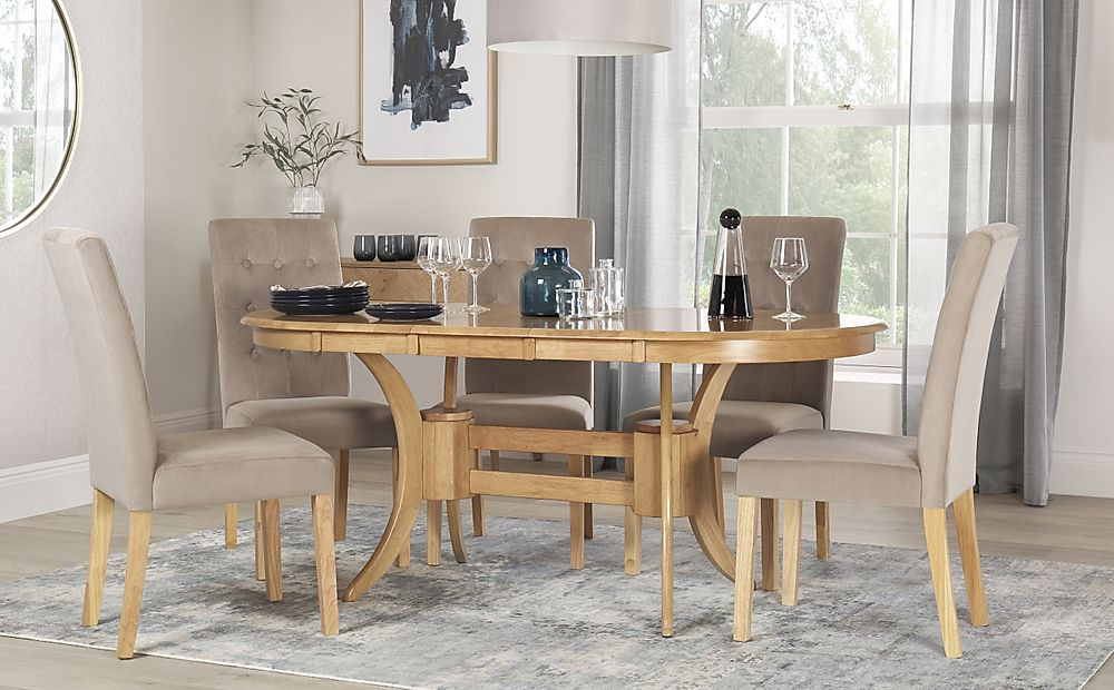 Townhouse Oval Oak Extending Dining Table with 4 Regent Mink Velvet Chairs