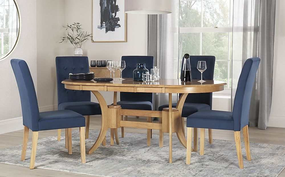 Townhouse Oval Oak Extending Dining Table with 4 Regent Blue Velvet Chairs