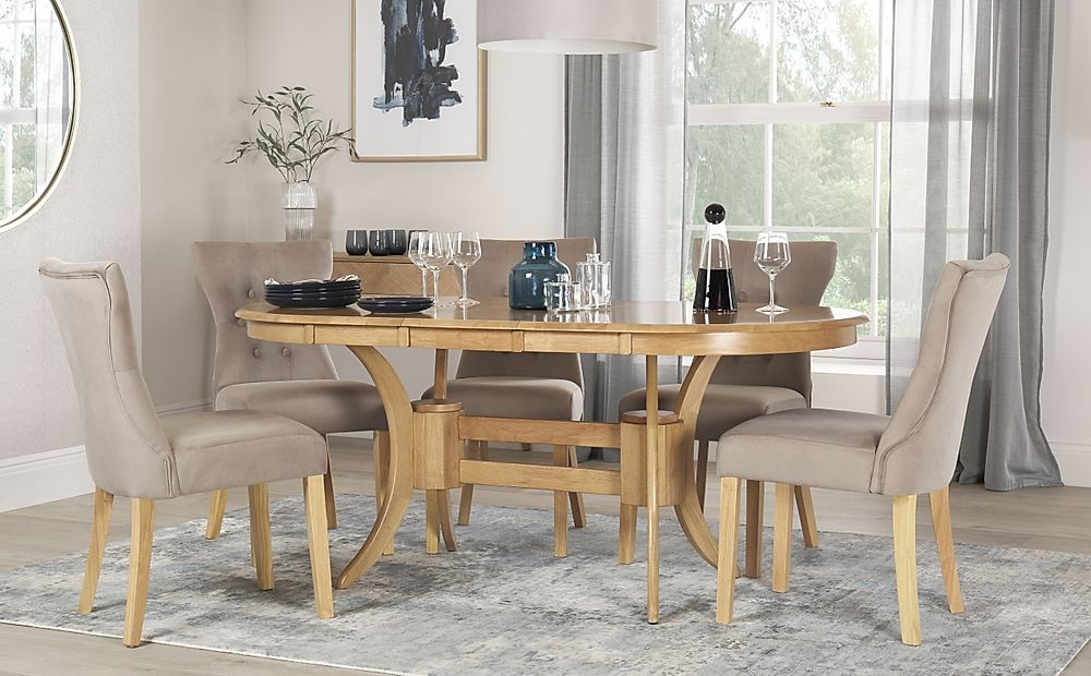 Townhouse Oval Oak Extending Dining Table with 6 Bewley Mink Velvet Chairs