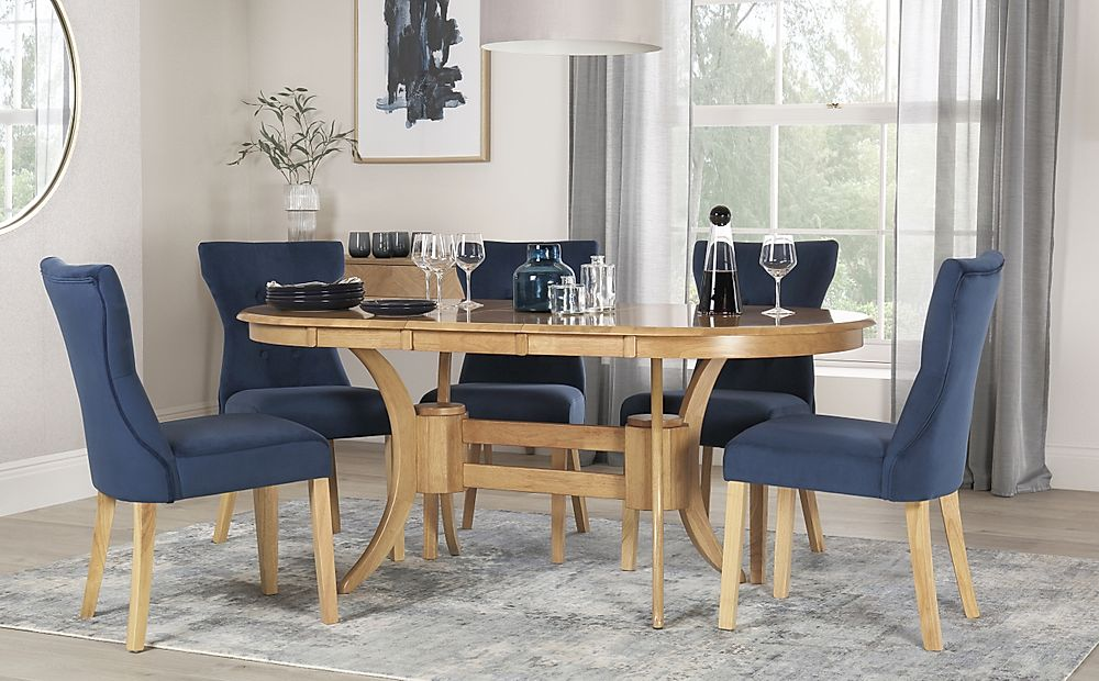 Townhouse Oval Oak Extending Dining Table with 4 Bewley Blue Velvet Chairs