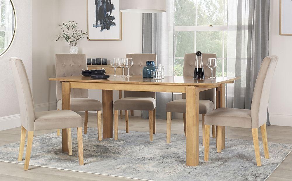Bali Oak Extending Dining Table with 6 Regent Mink Velvet Chairs