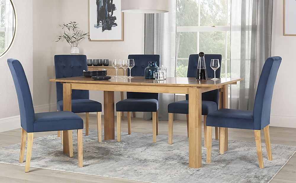 Bali Oak Extending Dining Table with 4 Regent Blue Velvet Chairs
