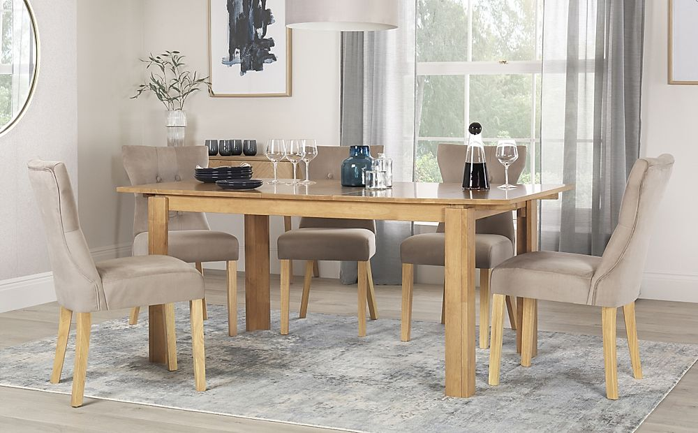 Bali Oak Extending Dining Table with 6 Bewley Mink Velvet Chairs