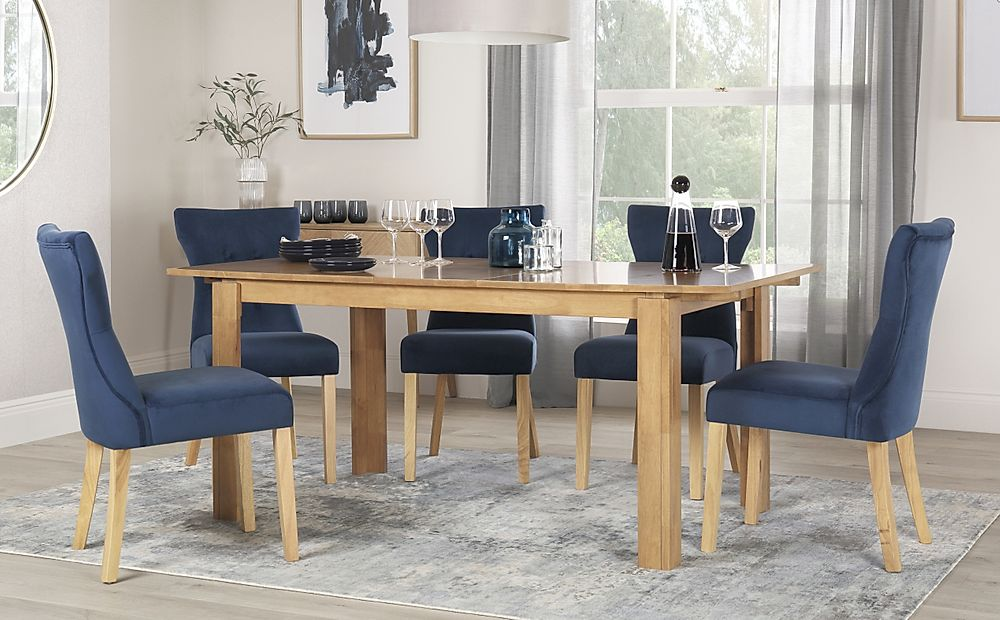 Bali Oak Extending Dining Table with 6 Bewley Blue Velvet Chairs