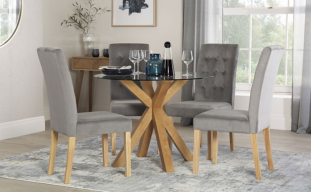 Hatton Round Oak and Glass Dining Table with 4 Regent Grey Velvet Chairs