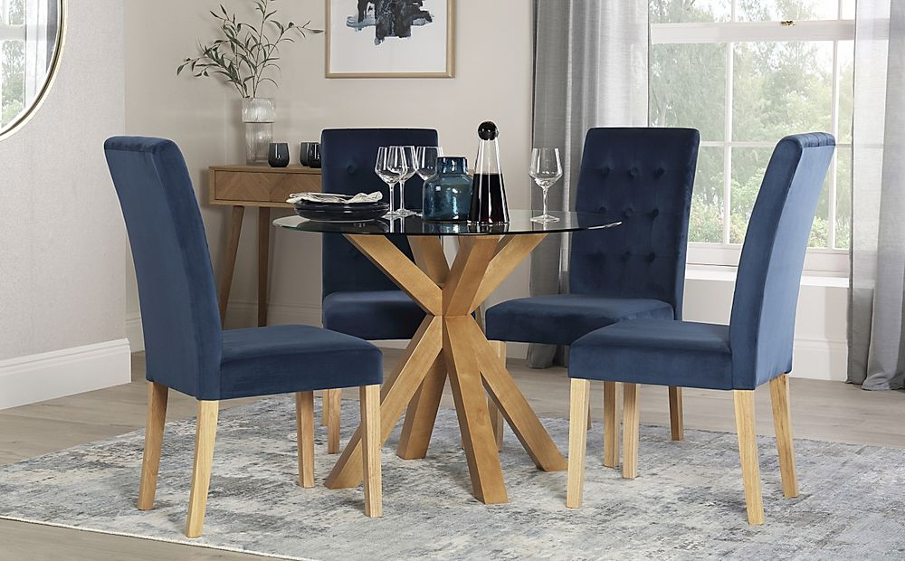 Hatton Round Oak and Glass Dining Table with 4 Regent Blue Velvet Chairs