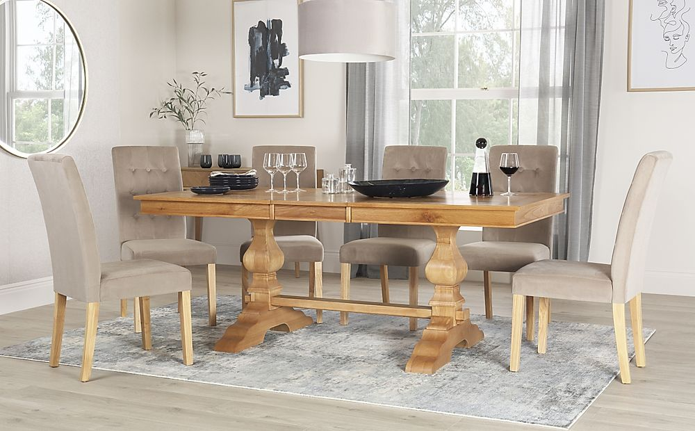 Cavendish Oak Extending Dining Table with 6 Regent Mink Velvet Chairs