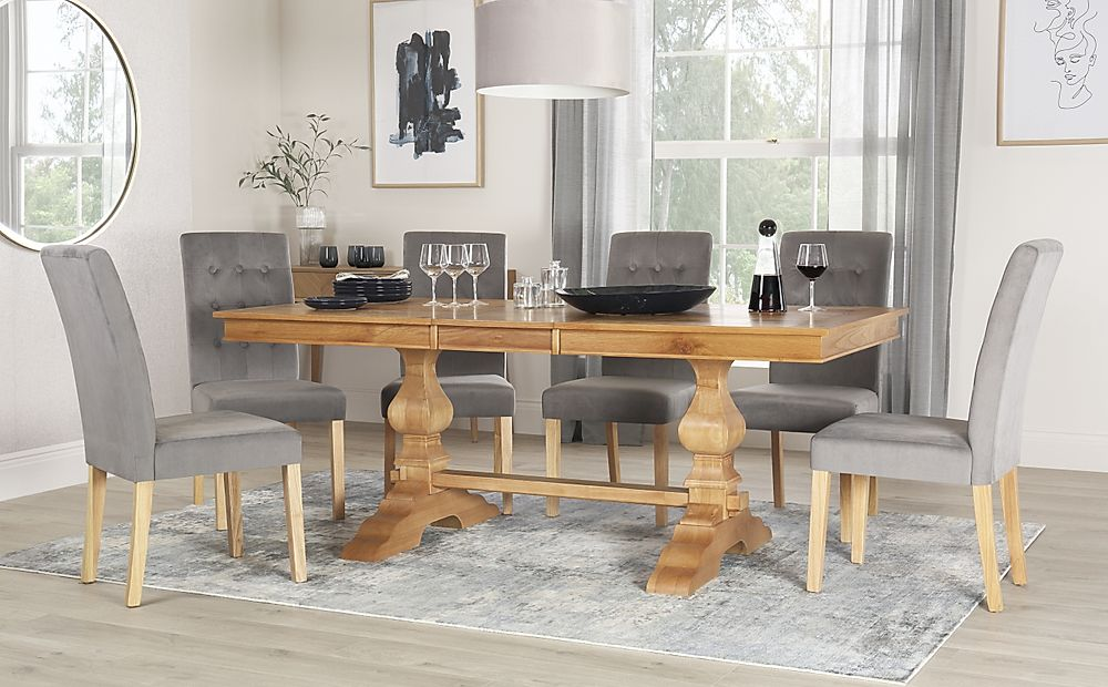Cavendish Oak Extending Dining Table with 4 Regent Grey Velvet Chairs