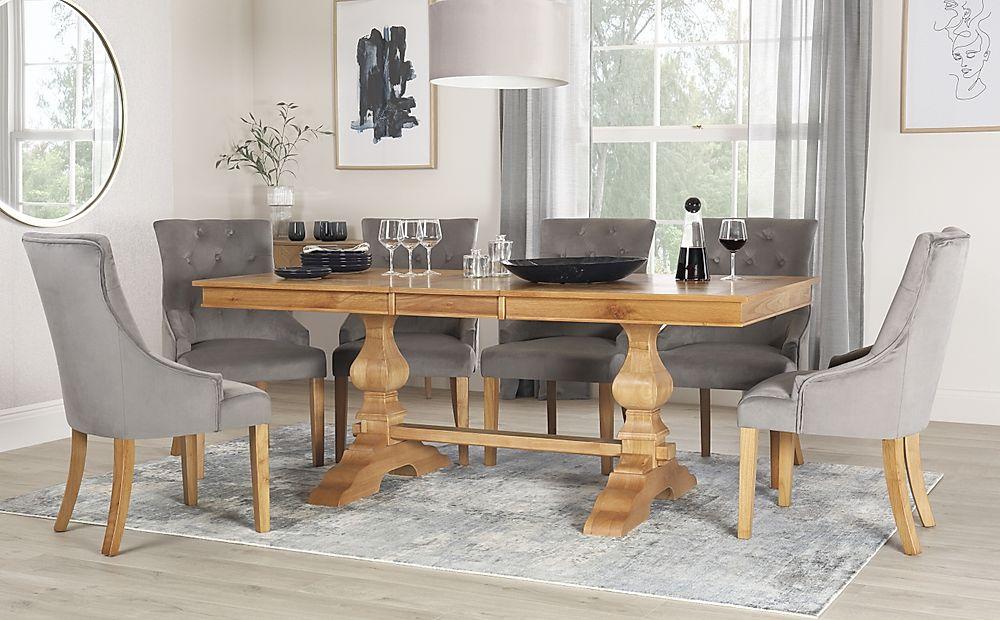 Cavendish Oak Extending Dining Table with 4 Duke Grey Velvet Chairs