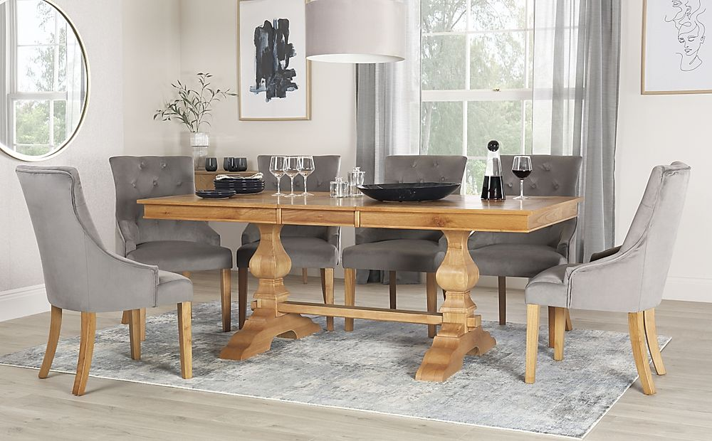 Cavendish Oak Extending Dining Table with 6 Duke Grey Velvet Chairs