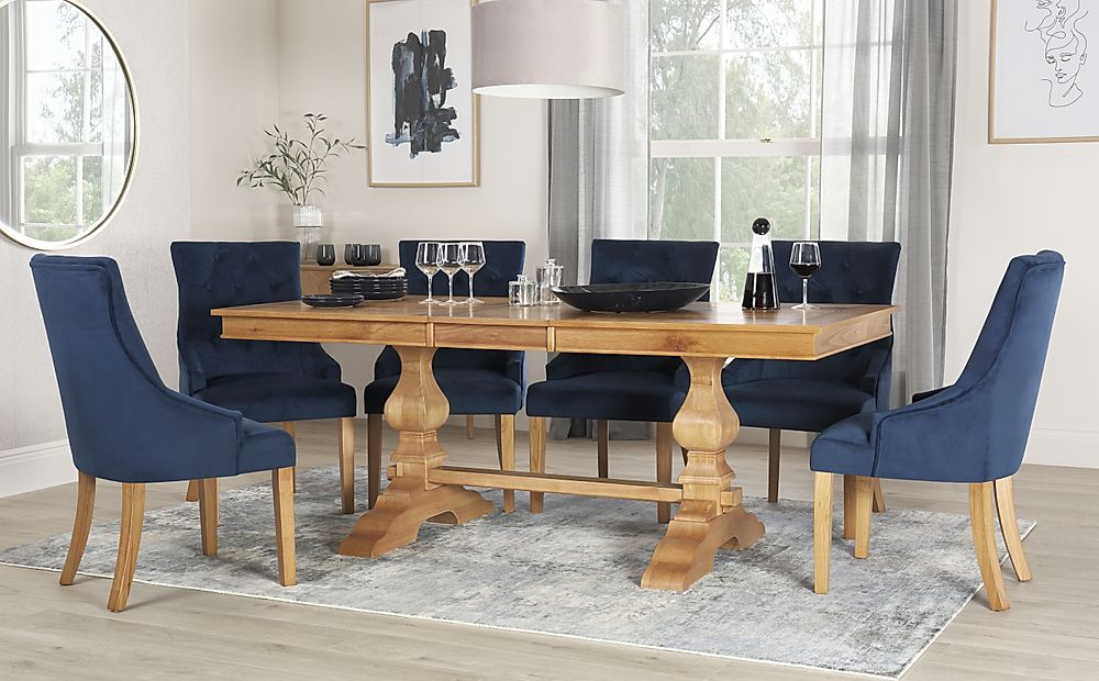Cavendish Oak Extending Dining Table with 8 Duke Blue Velvet Chairs