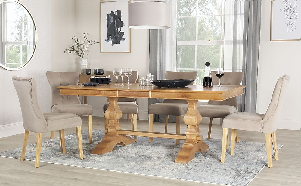 Cavendish Oak Extending Dining Table with 8 Bewley Mink Velvet Chairs
