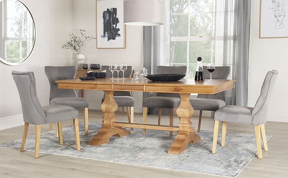 Cavendish Oak Extending Dining Table with 8 Bewley Grey Velvet Chairs