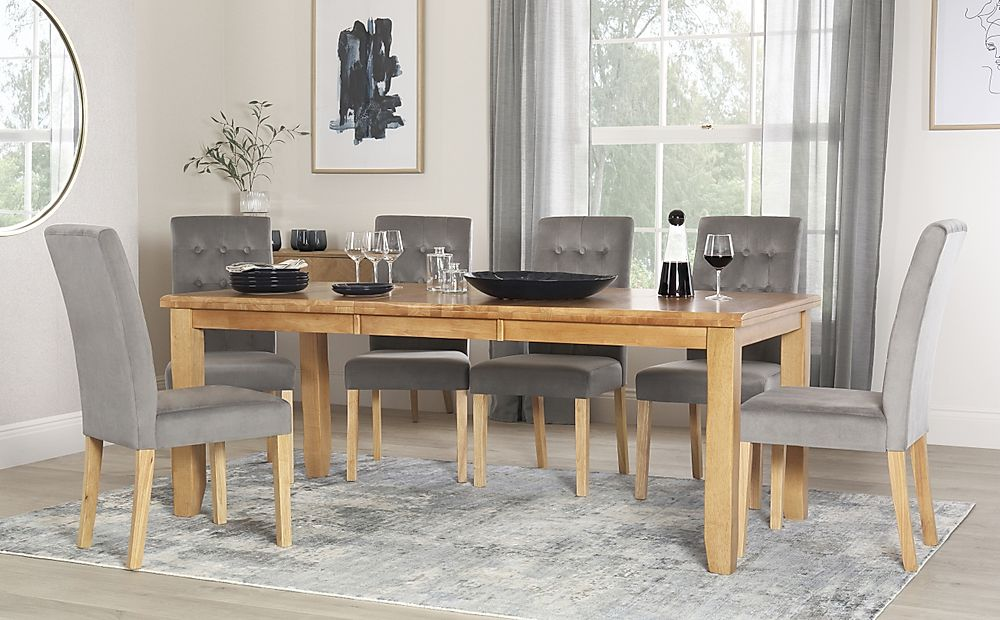 Highbury Oak Extending Dining Table with 8 Regent Grey Velvet Chairs