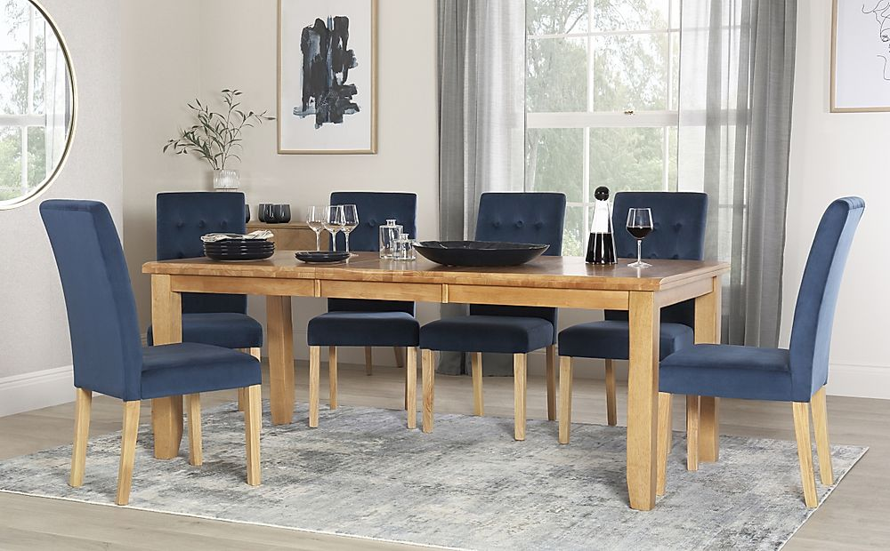 Highbury Oak Extending Dining Table with 4 Regent Blue Velvet Chairs
