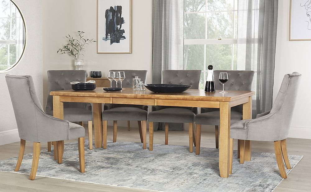 Highbury Oak Extending Dining Table with 8 Duke Grey Velvet Chairs